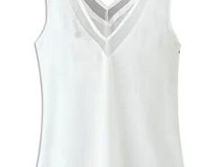 White V-neck Tulle Panel Cut Out Back Chiffon Vest Choies.com bester Fashion-Online-Shop Großbritannien Europa