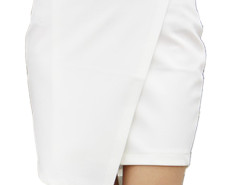 White Wrap Asymmetric Hem Bodycon Skirt Choies.com bester Fashion-Online-Shop Großbritannien Europa