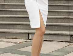 White Zipper Front Split High Waist Skirt Choies.com bester Fashion-Online-Shop Großbritannien Europa
