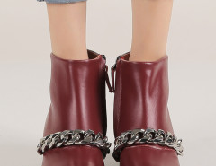 Wine Red Chunky Chain Zip Ankle Boots Choies.com bester Fashion-Online-Shop Großbritannien Europa