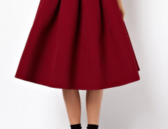 Wine Red High Waist Skater Midi Skirt Choies.com bester Fashion-Online-Shop Großbritannien Europa