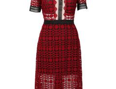 Wine Red Semi-sheer Crochet Lace Keyhole Back Midi Dress Choies.com bester Fashion-Online-Shop Großbritannien Europa