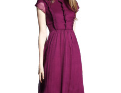 Wine Red Stand Collar Cap Sleeve Ruffle Trims Pleat Dress Choies.com bester Fashion-Online-Shop Großbritannien Europa