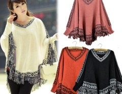 Women Batwing Sleeve Tassels Hem Style Cloak Poncho Knitting Sweater Cndirect bester Fashion-Online-Shop China