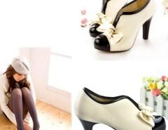 Women Beige Ladies High Heel Shoes Style Tie Platform Bow Pump Ankle Boots FV88 Cndirect bester Fashion-Online-Shop China