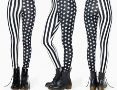Women Elastic Stripe Splicing Star Leggings Tights Pencil Pants Cndirect bester Fashion-Online-Shop China