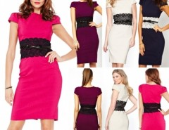 Women Elegant Bodycon Pencil Casual Dress with Belt Cndirect bester Fashion-Online-Shop China