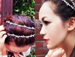 Women Fashion Silver Crystal Flower Elastic Hair Band Headband Cndirect bester Fashion-Online-Shop China