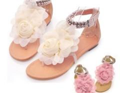 Women Flat  Pu Leather Buckle Big Flower Leisure Sandals Cndirect bester Fashion-Online-Shop China