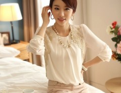 Women Lace Ornament Loose Long Sleeve Chiffon Blouse Tops Cndirect bester Fashion-Online-Shop China