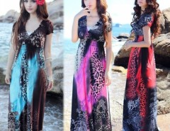 Women Lady Vintage Sexy Leopard Print V-Neck Floral Retro Pleated Beach Dress Cndirect bester Fashion-Online-Shop China