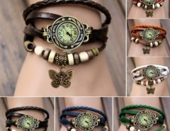 Women Leather Wrist Watch Bracelet Retro Butterfly Pendant Weave Wrap Quartz Cndirect bester Fashion-Online-Shop China