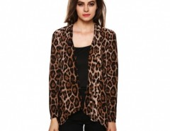 Women Leopard Blouse Casual Slim Irregular Cardigan Shirt Long Tops Cndirect bester Fashion-Online-Shop China