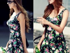 Women Round Neck Stretch Sundress Dress Full Skirt Cndirect bester Fashion-Online-Shop China