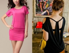 Women Round-neck Short Sleeve Off-shoulder Jumpsuit Mini Dress 3Colors Cndirect bester Fashion-Online-Shop China