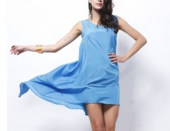 Women Satin Sleeveless Overall Beach Dress Holiday Summer Irregular Dress Cndirect bester Fashion-Online-Shop China