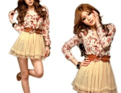 Women Stylish Chiffon Floral Bowtie Tunic Tulle Mini Dress Cndirect bester Fashion-Online-Shop China