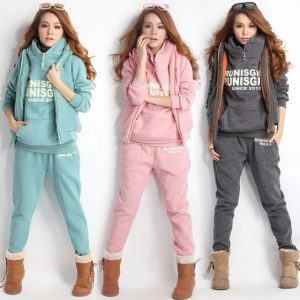 Women Suit Thickening Leisure Sports Hoody + Pant + Vest 3pcs sets Cndirect bester Fashion-Online-Shop China