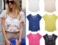 Women Summer Sexy Hollow-Out Blouse Embroidered Floral Lace Crochet Short Sleeve Shirt knitwear Cndirect bester Fashion-Online-Shop China