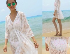Women Summer Sexy Lace Floral Short Sleeve Swimwear Bikini Cover Up Beach Dress Sundress Cndirect bester Fashion-Online-Shop China