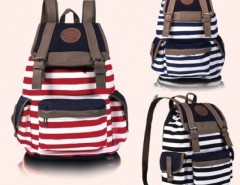 Women Unisex Backpack Canvas Stripe Leisure Bags School Bag Cndirect bester Fashion-Online-Shop China