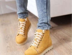 Women Vintage PU Leather Lace Up Snow Ankle Boots Flat Shoes Cndirect bester Fashion-Online-Shop China