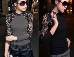 Women's Baroque Lace Splicing Long Sleeve Blouse Tops Knit Shirt Cndirect bester Fashion-Online-Shop China