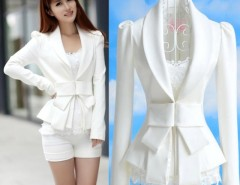 Women's Big Bowknot Career OL White Slim Suit Coats Jackets Cndirect bester Fashion-Online-Shop China