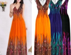 Women's Bohemian Peacock Tail Hawaiian V-neck Long Beach Dress Cndirect bester Fashion-Online-Shop China