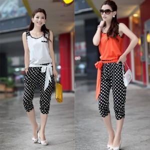 Women's Casual Dot Capri Pant 3/4 Pant  Sleeveless Jumpsuit Romper Cndirect bester Fashion-Online-Shop China