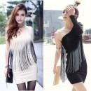 Women's Charming Sexy Boat Neck Color-Match Tassel Fringe One-Shoulder Dress Cndirect bester Fashion-Online-Shop China