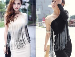 Women's Charming Sexy Boat Neck Color-Match Tassel Fringe One-Shoulder Dress Cndirect bester Fashion-Online-Shop China