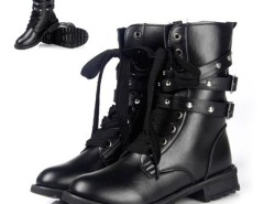 Women's Cool Punk Military Army Knight Lace-up Short Boots Black Cndirect bester Fashion-Online-Shop China