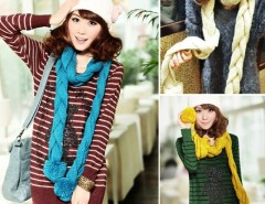Women's Cute Soft Knitting Wool Twisted Scarf Shawl Cable 3 Colors Hot Cndirect bester Fashion-Online-Shop China