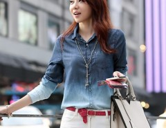 Women's Denim Gradual Blue Jeans single-breasted Long Sleeve Shirt Blouse Cndirect bester Fashion-Online-Shop China