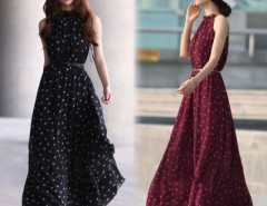 Women's Elegant Chiffon Dot Vest Maxi Full Long Dress Sleeveless With Belt Cndirect bester Fashion-Online-Shop China