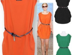 Women's Elegant Round Neck Sleeveless Button-shoulder Tunic Dress With Belt Cndirect bester Fashion-Online-Shop China