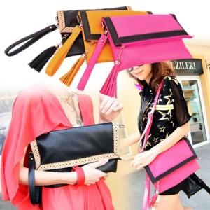 Women's Fashion Hollow Out Lace Tassel PU Leather Envelope Handbag Tote Bag Shoulder Bag Cndirect bester Fashion-Online-Shop China