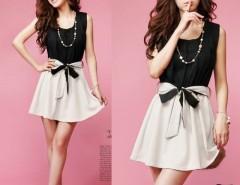 Women's Fashion Korea StyleSleeveless Elastic Waist Dress Color Block Mini Dress With Belt Cndirect bester Fashion-Online-Shop China