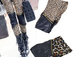 Women's Imitation Leather Patchwork Zipper Leopard Print Leggings Cndirect bester Fashion-Online-Shop China