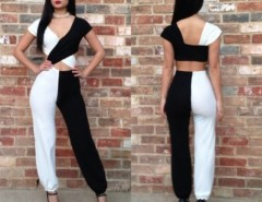 Women's Jumpsuits Bodycon Sleeveless Black White Stitching Club Wear Cndirect bester Fashion-Online-Shop China