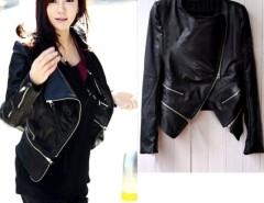 Women's Korea Fashion Synthetic Leather Zipper Slim Jacket Coat Black Cndirect bester Fashion-Online-Shop China
