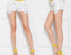 Women's Ladies Europe Style Slim Fit Embedded Rhinestone White Shorts Hot Pants With Belt Cndirect bester Fashion-Online-Shop China