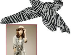 Women's Long Style Classical Black White Chiffon Zebra Heart Round Print Scarf Shawl Wrap Cndirect bester Fashion-Online-Shop China