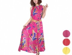 Women's Lotus Leaf neck Sleeveless Chiffon Long Dress With Belt Cndirect bester Fashion-Online-Shop China