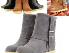 Women's Metal Buckles Shoes Flat Heel Short Boots Fur Suede Cndirect bester Fashion-Online-Shop China