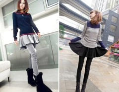 Women's New Sweet Lovely Brief Pleated Skirt and Slim Fit Leggings Fake Two Pieces Cndirect bester Fashion-Online-Shop China