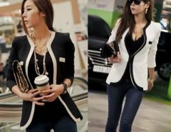 Women's OL V-neck White Black Color Slim Suits Jacket Coat Cndirect bester Fashion-Online-Shop China