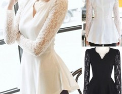 Women's Party Shirts Peplum V neck Formal Tops Blouses Cndirect bester Fashion-Online-Shop China