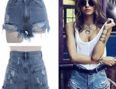 Women's Punk Rock Street Hole Water Wash Retro High Waist Shorts Jeans Cndirect bester Fashion-Online-Shop China